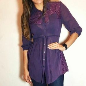 Free People Button Tunic Lace Back Tie Size 4 EUC